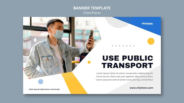 Modèle de bannière de transport public