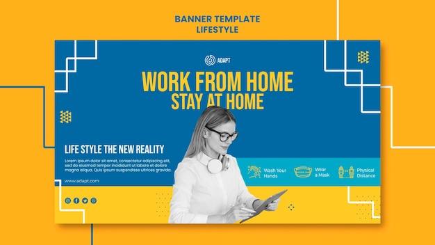 Modèle de bannière de travail à domicile