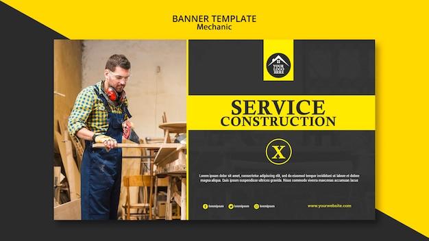 Modèle de bannière de travailleur manuel de charpentier