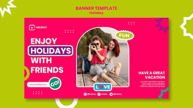 Modèle de bannière de vacances avec des amis