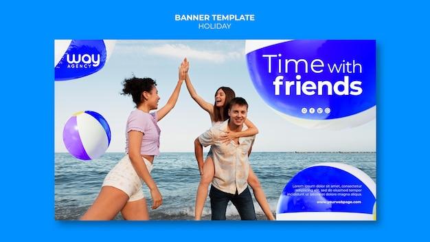 Modèle de bannière de vacances d'amis