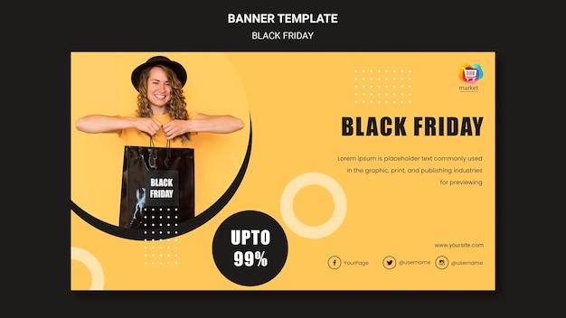 Modèle de bannière vendredi noir
