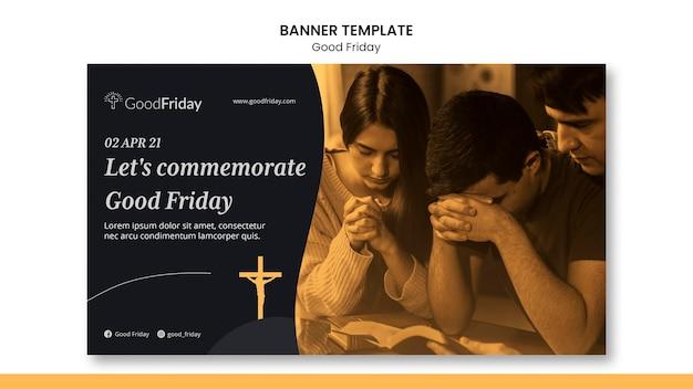 Modèle de bannière de vendredi saint avec photo