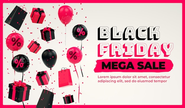 Modèle de bannière de vente black friday avec des trucs flottants et un espace de copie en rendu 3d