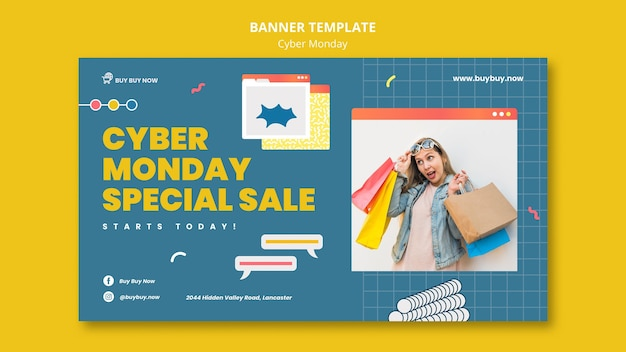 Modèle de bannière de vente cyber lundi créatif