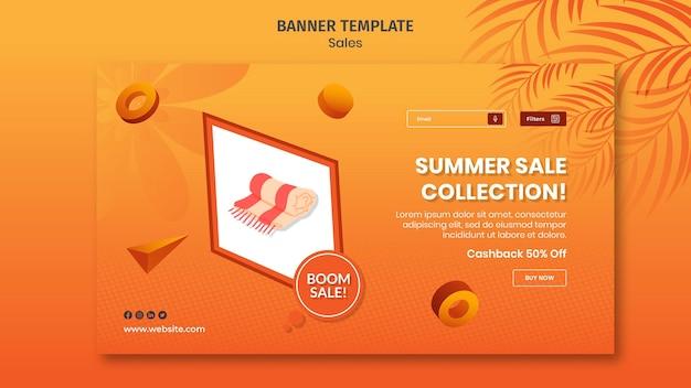 Modèle de bannière de vente d'escompte d'été