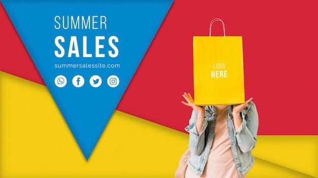 Modèle de bannière de vente d'été avec des formes triangulaires colorées