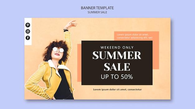 Modèle de bannière de vente d'été.