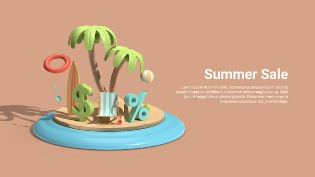 Modèle de bannière de vente avec île 3d et propriété d'été