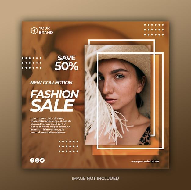 Modèle de bannière de vente de mode sur les médias sociaux et carré web