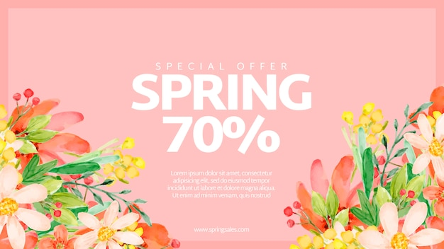 Modèle de bannière de vente printemps aquarelle