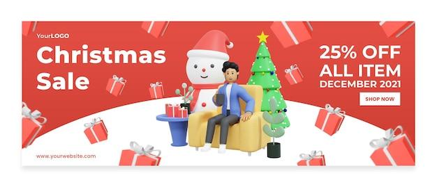 Modèle de bannière vente à prix réduit célébrant noël illustration 3d rendu 3d psd premium