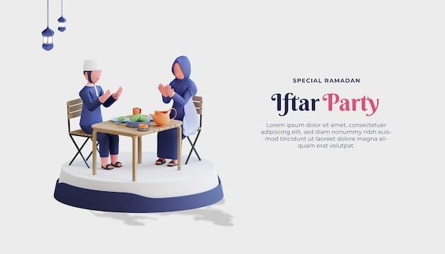 Modèle de bannière de vente ramadan kareem avec fête iftar de personnage de couple musulman 3d