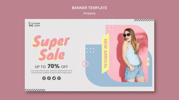Modèle de bannière de vente shopping