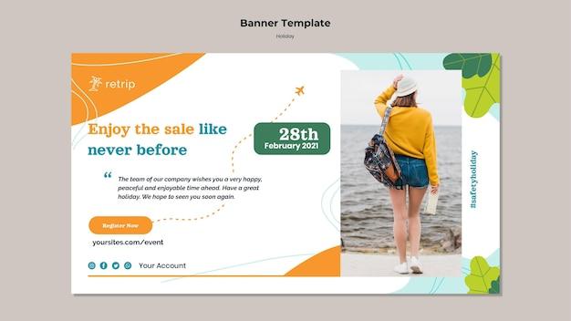 Modèle de bannière de vente de vacances
