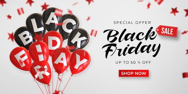 Modèle de bannière de vente vendredi noir avec des ballons brillants noirs et rouges