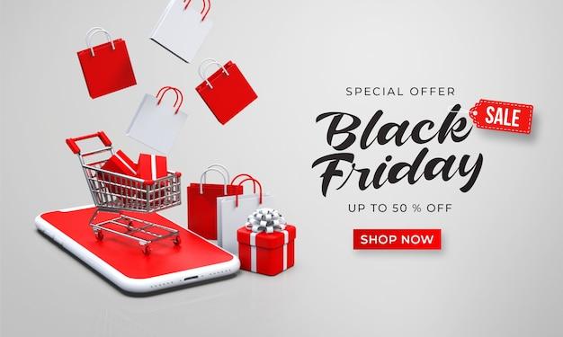 Modèle de bannière de vente vendredi noir avec panier 3d sur le smartphone