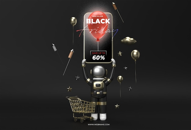 Modèle de bannière de vente vendredi noir rendu 3d.