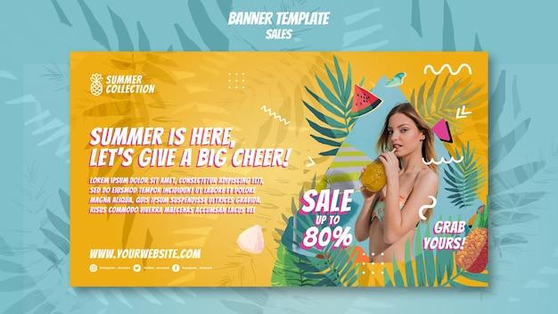 Modèle de bannière de ventes d'été
