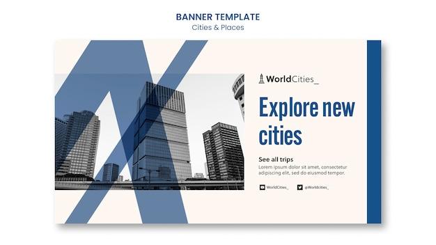 Modèle de bannière de villes et de lieux