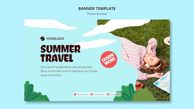 Modèle de bannière de voyage d'été