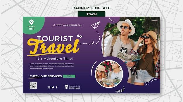 Modèle de bannière de voyage avec photo