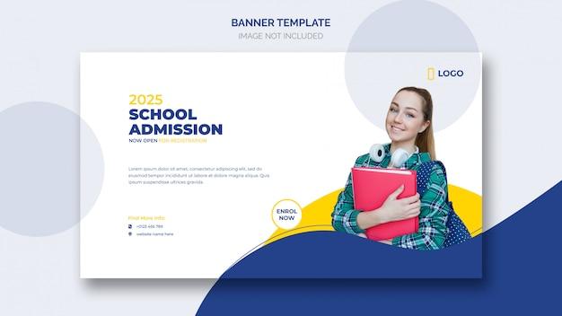 Modèle de bannière web d'admission à l'école