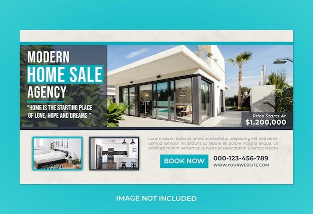 Modèle de bannière web d'agence de vente à domicile moderne