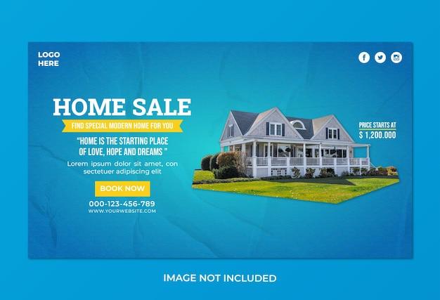 Modèle de bannière web d'agence de vente à domicile