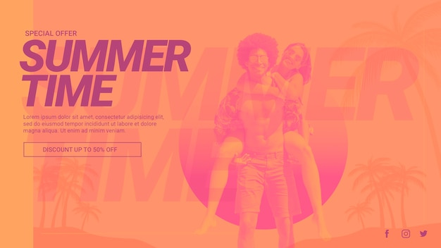 Modèle de bannière web avec concept de l'été