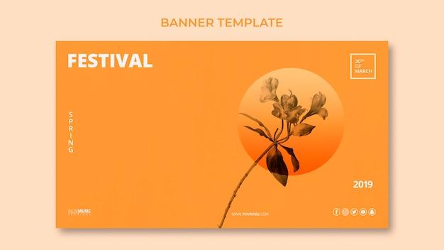 Modèle de bannière web avec concept de festival de printemps