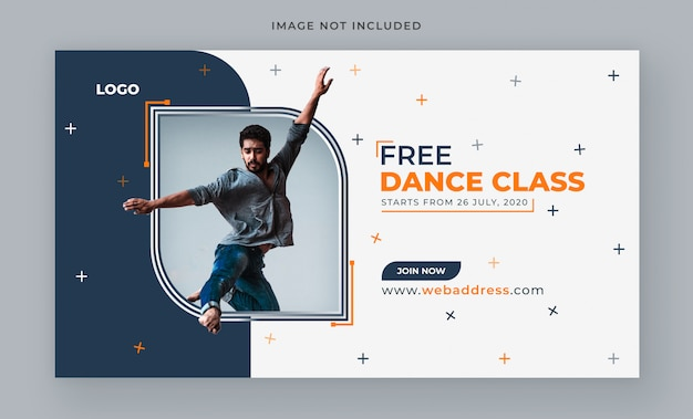 Modèle de bannière web créatif orange de danse