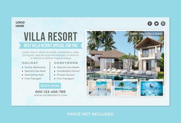 Modèle de bannière web hôtel villa resort