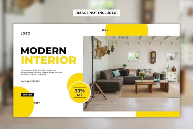 Modèle de bannière web intérieur moderne