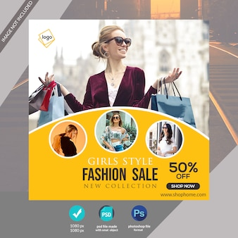 Modèle de bannière web de médias sociaux fashion spécial ou publication instagram