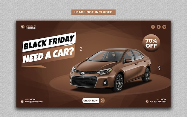 Modèle de bannière web et médias sociaux vendredi noir de location de voiture moderne