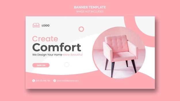 Modèle de bannière web de mobilier minimal