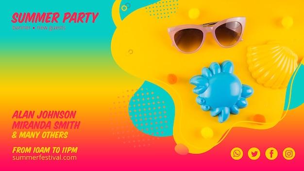 Modèle de bannière web parti été coloré