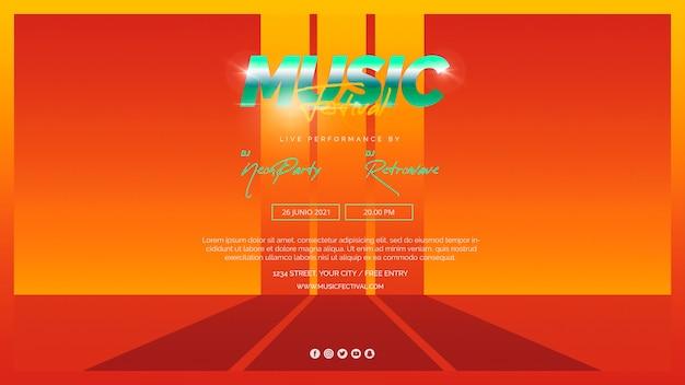 Modèle de bannière web pour festival de musique des années 80
