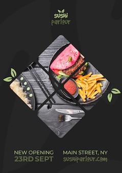 Modèle de bannière web pour un restaurant japonais