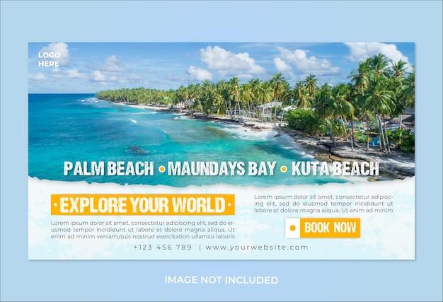 Modèle de bannière web de promotion du monde du voyage