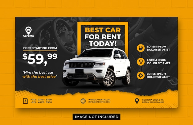 Modèle de bannière web de promotion de location de voiture