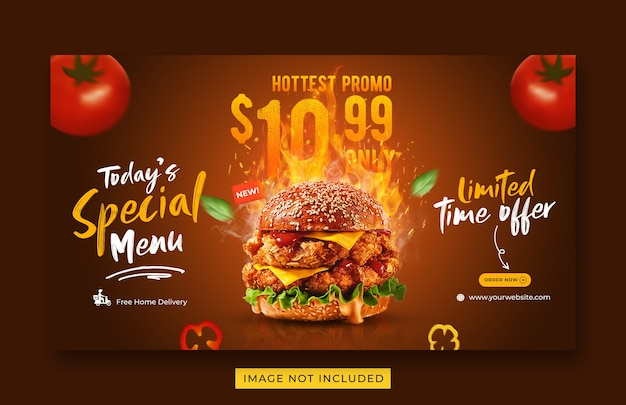 Modèle de bannière web de promotion de menu alimentaire burger