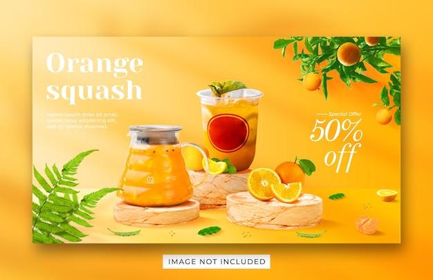 Modèle de bannière web de promotion de menu de boisson de courge orange