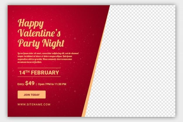 Modèle de bannière web valentine party