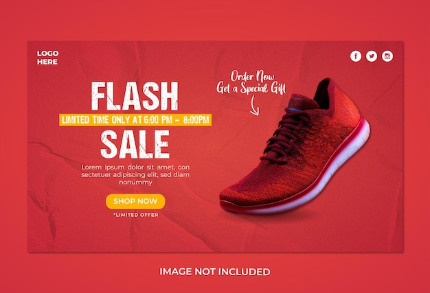 Modèle de bannière web de vente de chaussures