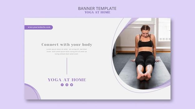 Modèle de bannière de yoga à la maison