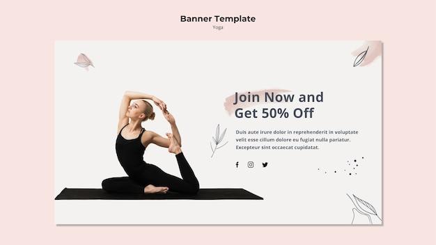 Modèle de bannière de yoga avec remise