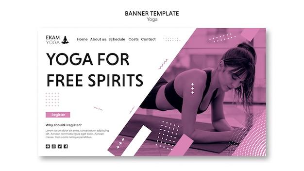 Modèle de bannière avec yoga