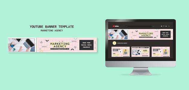 Modèle de bannière youtube de l'agence de marketing des médias sociaux